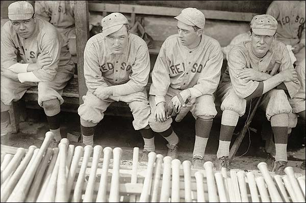 Babe Ruth and Fellow Red Sox in Dugout Photo Print for Sale