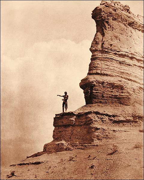 Edward S. Curtis Offering to the Sun Indian Photo Print for Sale