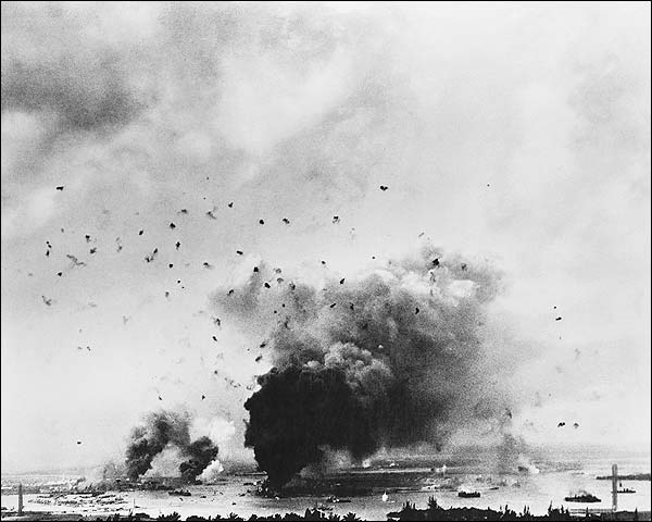 Pearl Harbor Bombing from Distance WWII Photo Print for Sale