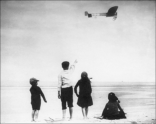 Louis Bleriot 1910 Airplane over Calais Photo Print for Sale