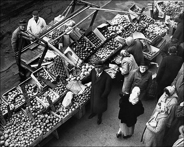 Push Cart Market in 1962 Brooklyn, New York  Photo Print for Sale