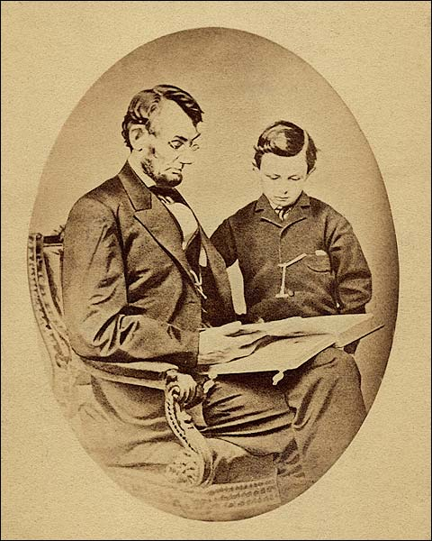 President Abraham Lincoln with Son Tad Lincoln Photo Print for Sale