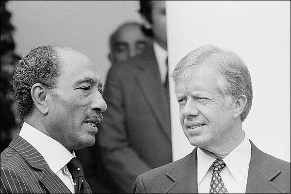 President Jimmy Carter and Egyptian President Anwar Sadat Photo Print for Sale