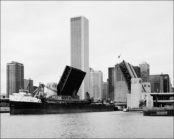 Ship in Lake Michigan at a Chicago River Bascule Bridge Photo Print for Sale