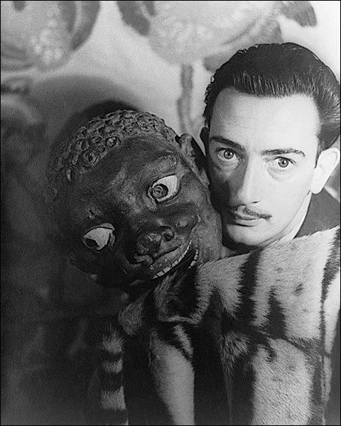 Salvador Dalí with Carved Mask 1939 Photo Print for Sale