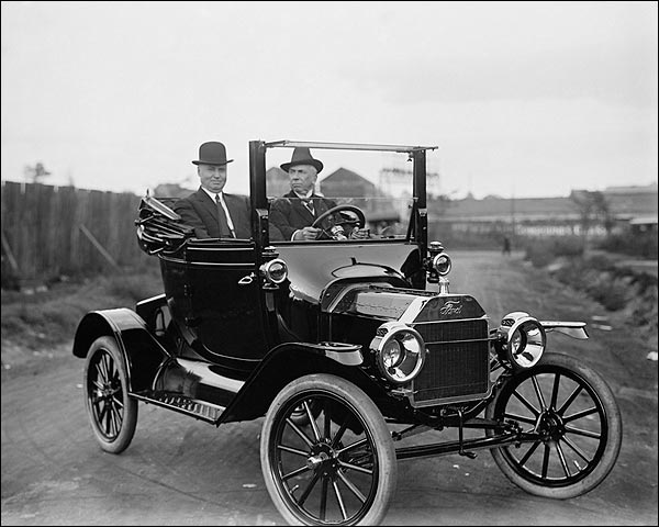 Men in Early Twentieth Century Ford Model T Roadster Photo Print for Sale