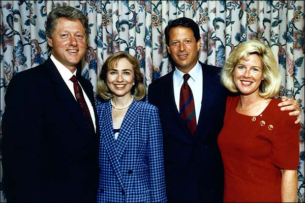 Pres. Bill Clinton & VP Al Gore with Wives Photo Print for Sale
