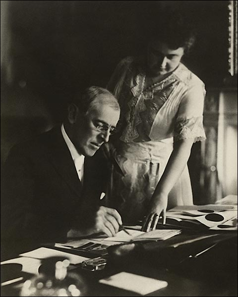 President Woodrow Wilson at Desk with Wife Edith Photo Print for Sale