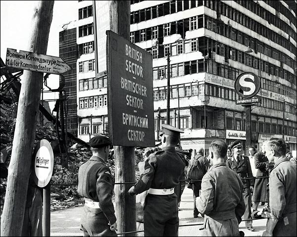 Military Police Marking British Sector in Berlin 1948 Photo Print for Sale