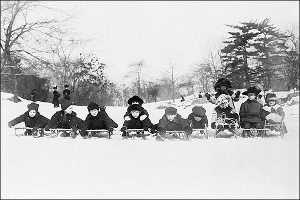 Children on Sleds in Central Park 1915 Photo Print for Sale
