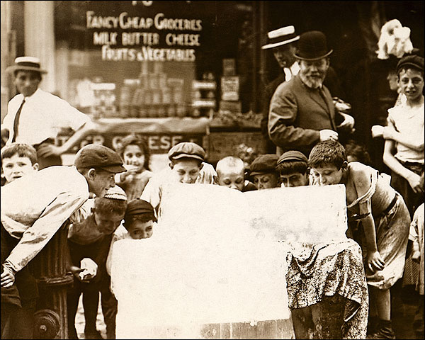 Boys Licking Ice on Hot Summer Day 1912 Photo Print for Sale