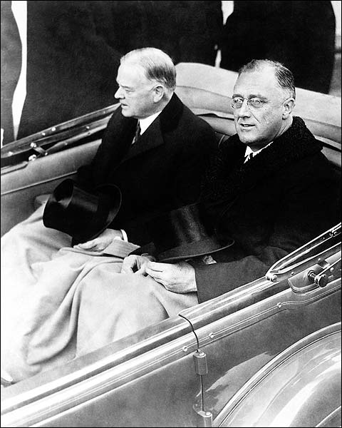 Franklin Roosevelt & Herbert Hoover in Car Photo Print for Sale