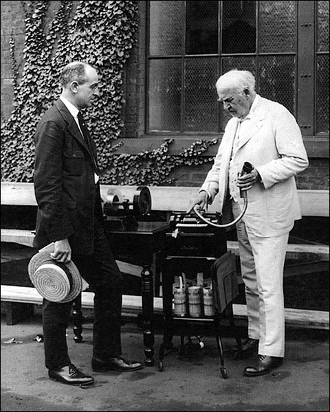 Thomas Edison Dictating Machine Outside Photo Print for Sale