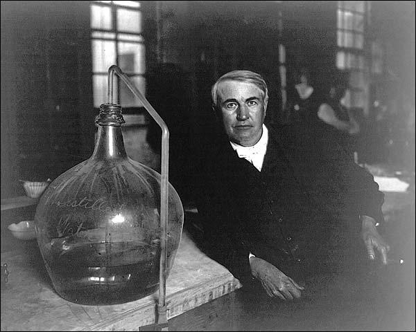 Thomas Edison in Laboratory Portrait Photo Print for Sale
