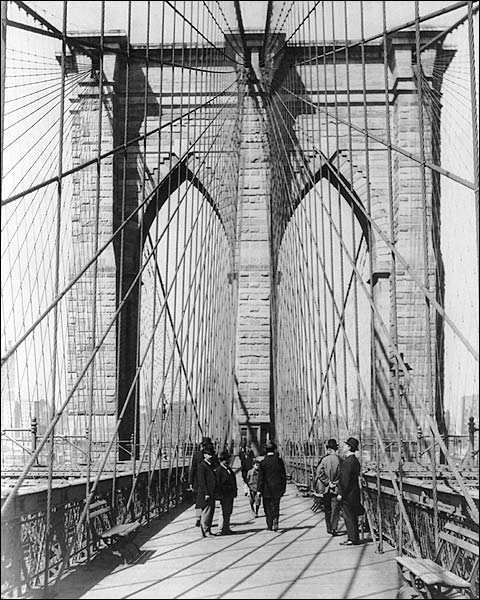 Brooklyn Bridge Tower New York City 1898 Photo Print for Sale