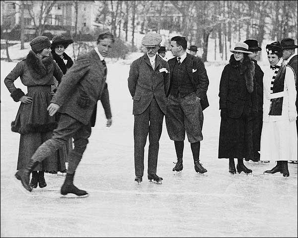 Ice Skating at Tuxedo Park New York Photo Print for Sale