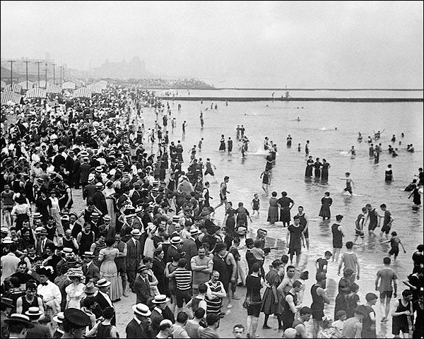 Coney Island Summer Beach Crowds New York Photo Print for Sale