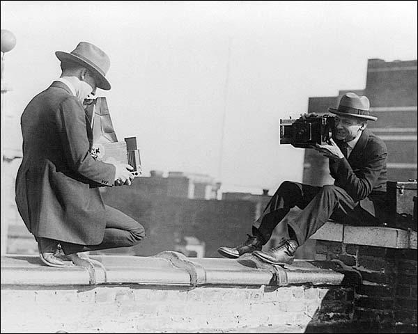 Photographers w/ Antique Graflex Cameras Photo Print for Sale