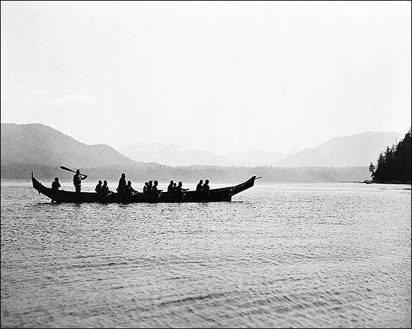 Edward S. Curtis Kwakiutl Indians in Boat Photo Print for Sale