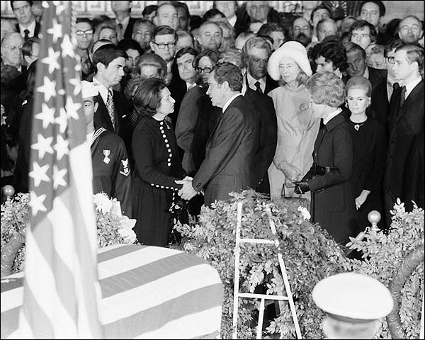 President Nixon at Lyndon Johnson Funeral Photo Print for Sale