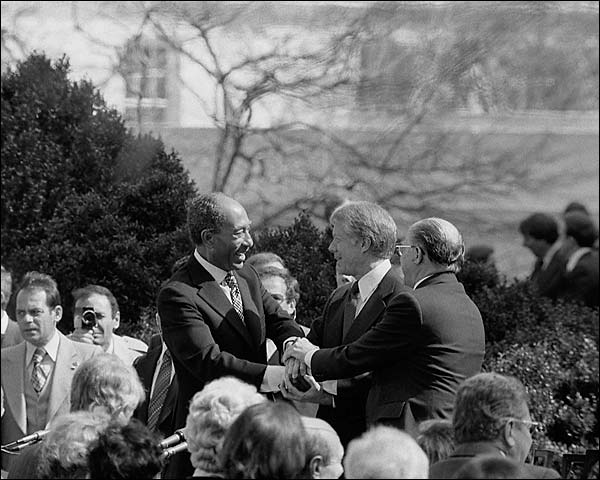 Jimmy Carter, Begin and Sadat at Peace Treaty Signing Photo Print for Sale