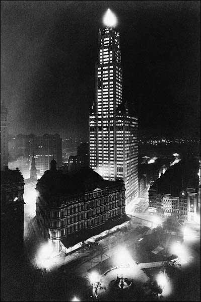 New York City Woolworth Building at Night Photo Print for Sale