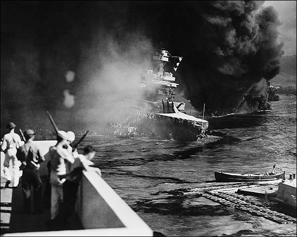 USS California Sinking in Pearl Harbor WWII Photo Print for Sale