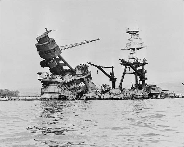 USS Arizona Sinking in Pearl Harbor WWII Photo Print for Sale