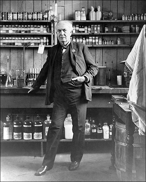 Thomas Edison Portrait in His Laboratory Photo Print for Sale
