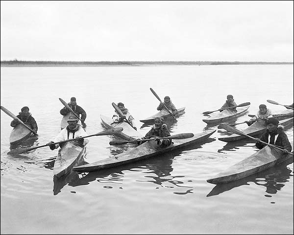 Eskimos Kayaking in Alaska Edward S. Curtis Photo Print for Sale