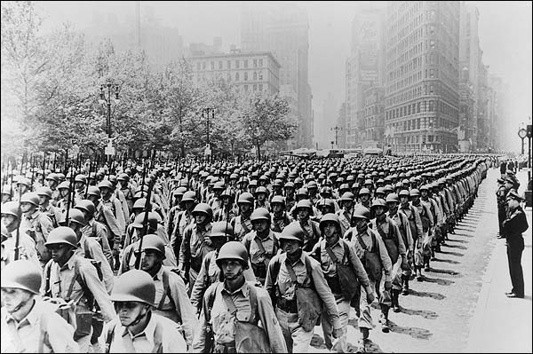 WWII Soldiers on 5th Ave in New York City Photo Print for Sale