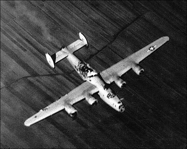 WWII B-24 Liberator Bomber Struck By Bomb Photo Print for Sale