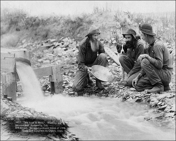 Old West Panning For Gold in Dakota 1889 Photo Print for Sale