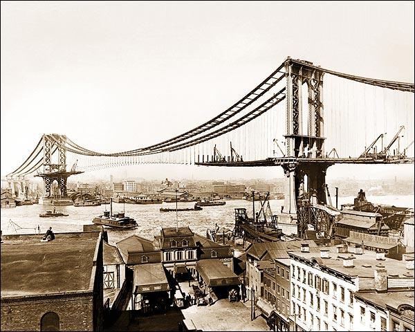 New York City Manhattan Bridge Construction Photo Print for Sale