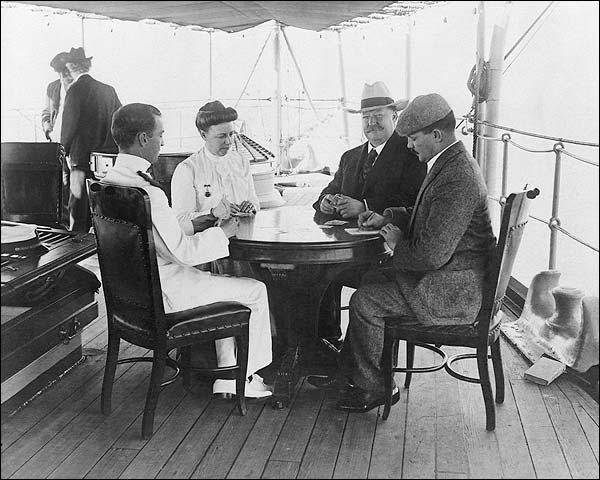 President Taft & Wife Playing Cards on Boat Photo Print for Sale