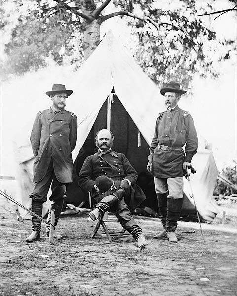 Civil War General Ambrose Burnside in Camp Photo Print for Sale