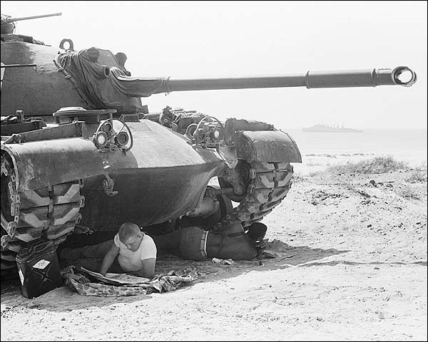 U.S. Marines Seek Shade Under Tank Beirut Photo Print for Sale
