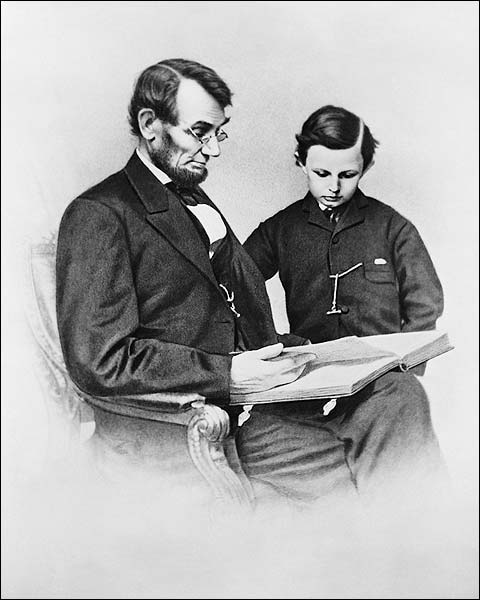 Pres. Abraham Lincoln & Son Tad Portrait Photo Print for Sale