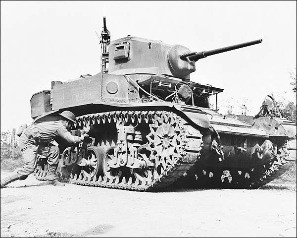 WWII Soldier Plants TNT on Light Tank Photo Print for Sale