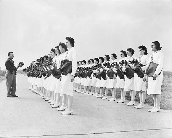 WWII Army Air Force Nurses w/ Gas Masks Photo Print for Sale