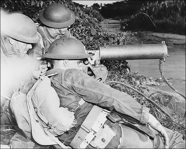 WWII Machine Gun Crew Guarding Waterway Photo Print for Sale