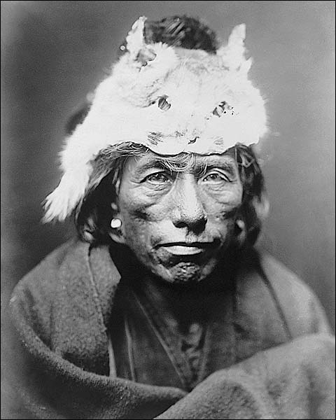 Navajo Man Lynx Cap Edward S. Curtis Photo Print for Sale