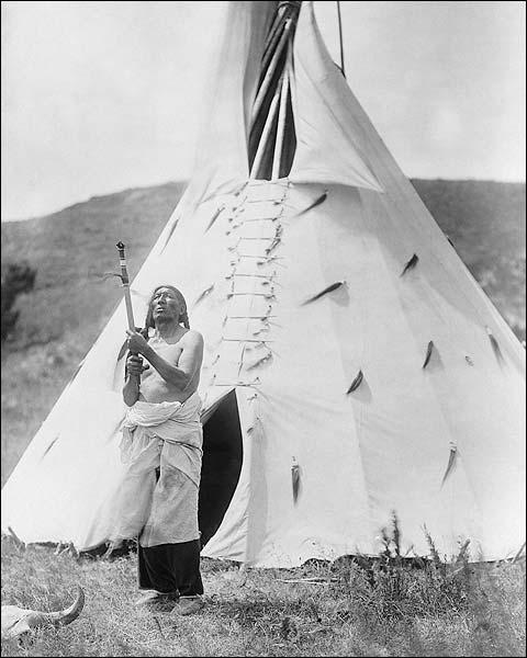 Dakota Indian & Tipi Edward S. Curtis 1907 Photo Print for Sale