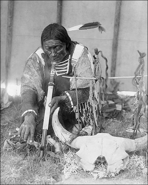 Dakota Indian Man & Calumet Edward S. Curtis Photo Print for Sale