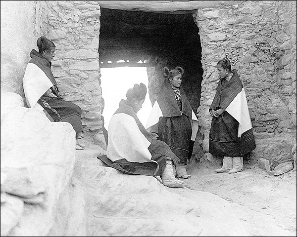 Four Hopi Indian Maidens Edward S. Curtis Photo Print for Sale