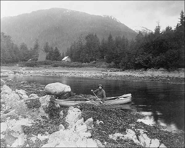 Man in Canoe in Alaska Edward S. Curtis Photo Print for Sale