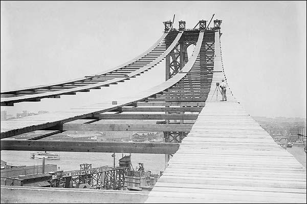 Manhattan Bridge Construction New York City Photo Print for Sale