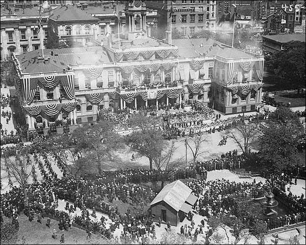 New York City Hall Patriotic Display 1908 Photo Print for Sale