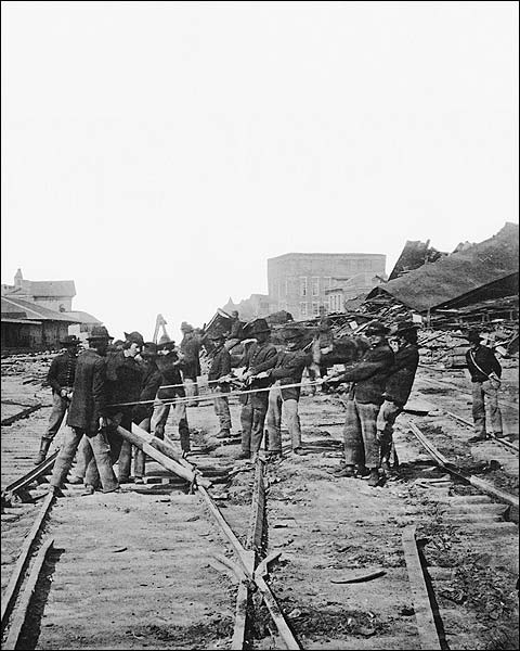 Sherman's Men Tearing Railroad, Atlanta Photo Print for Sale