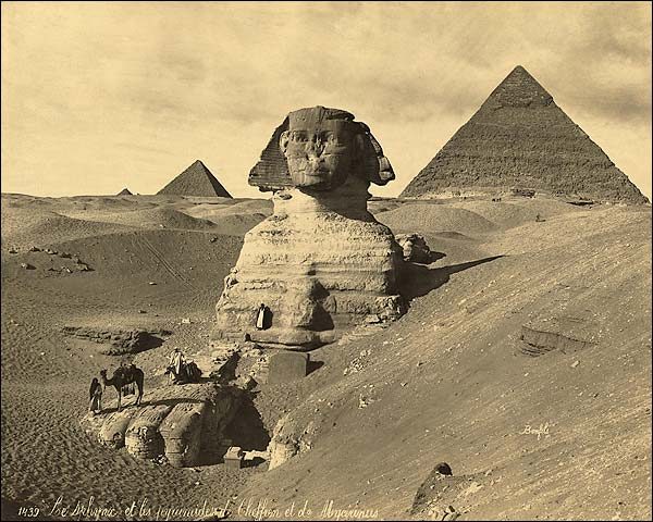 The Sphinx & Two Pyramids Egypt 1867 Photo Print for Sale
